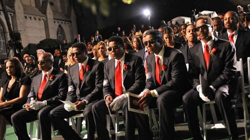 Michael Jackson's siblings, from left, Janet, Randy, Jackie, Tito, Jermaine and Marlon, prepare to say a final goodbye to their brother. (The Jackson Family / Harrison Funk / Associated Press / September 3, 2009)