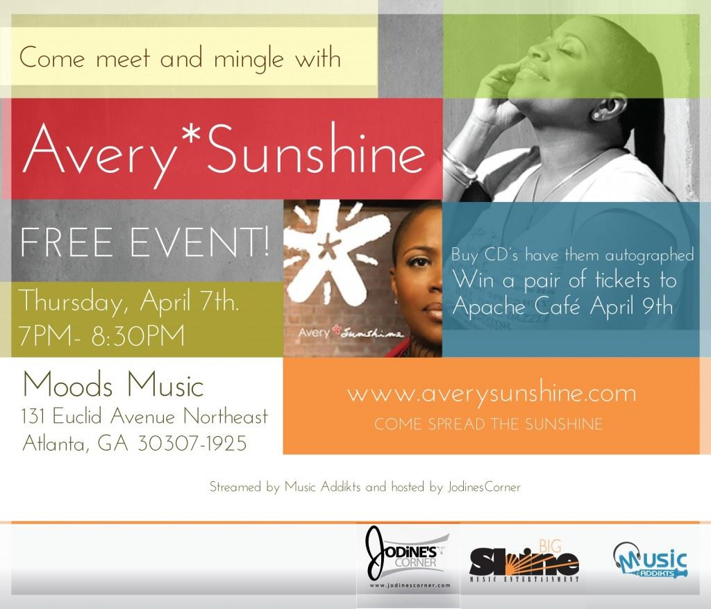 Meet & Mingle with Avery Sunshine – April 7th!!!!