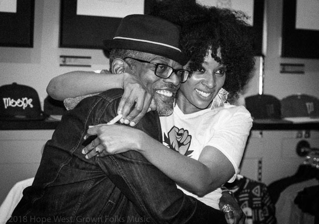 Sy Smith at Soul Village/Moods Music with fan, friend and actor, T.C. Carson.
