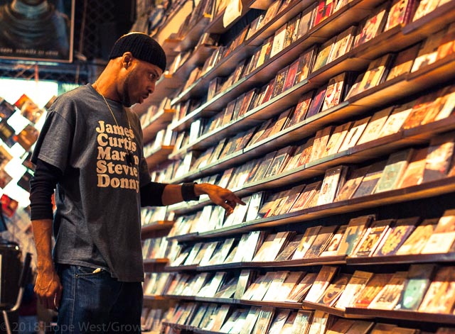 Dave Soul finding his favorite CD at Moods Music