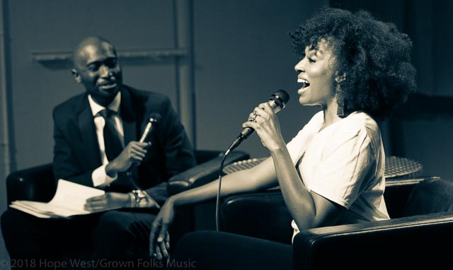 "Sy Smith at Soul Village/Moods Music talking with host, JB for the ""Sometimes A Rose"" Tour"