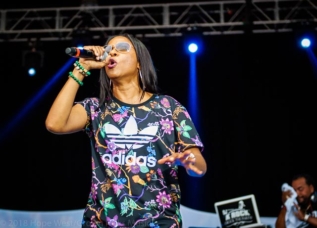 MC Lyte performing at the Old School Hip Hop Fest
