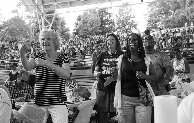 The crowd having a little fun in Atlanta at the Mable House Barnes Amphitheater to see Peabo Bryson & Jeffery Osborne