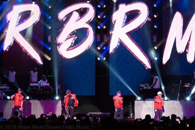 Bobby Brown, Ricky Bell, Mike Bivins and Ronnie Devoe from group RBRM performing at State Bank Amphitheatre Chastain Park in Atlanta