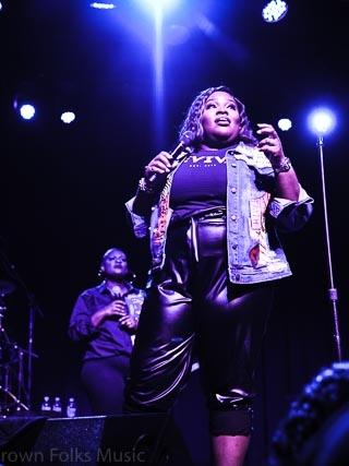 Tasha Cobbs Leonard performing on the Revival Tour in Atlanta