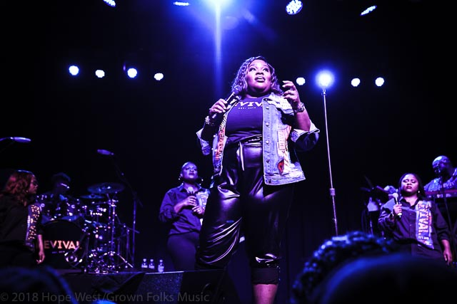 Tasha Cobbs Leonard performing on the Revival Tour in Atlanta