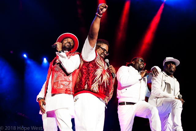 Blackstreet performing on stage at the State Farm Arena for the