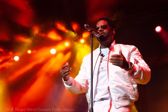 Nathan Morris of Boyz II Men performing on stage at the State Farm Arena for the