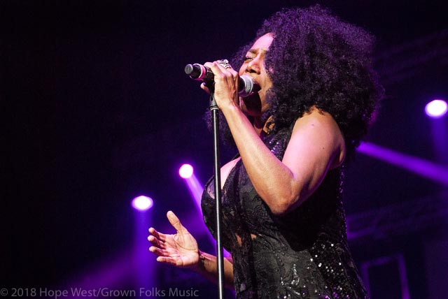 Karyn White performing on stage at the State Farm Arena for the