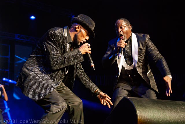 "Johnny Gill & Ralph Transvant performing on stage at the State Farm Arena for the ""R&B Forever"" concert series"