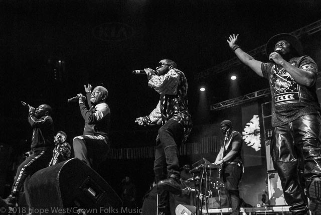 Dru Hill performing on stage at the State Farm Arena for the