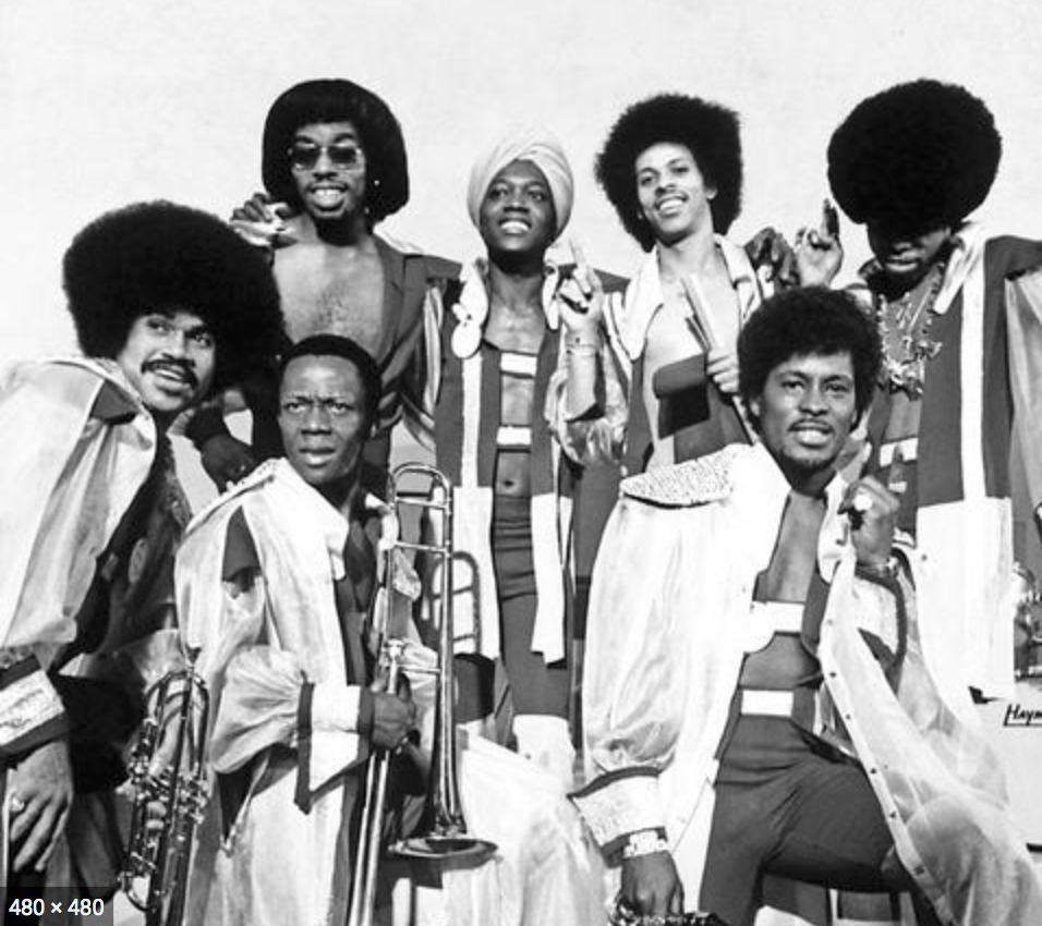 Black and white photo of funk band, Ohio Players