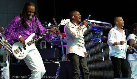 Earth, Wind & Fire performing onstage at Chastain Park